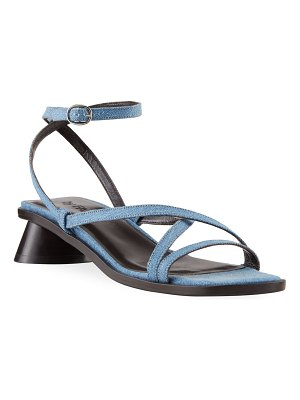 BY FAR Yumi 30mm Oval-Heel Denim Sandals