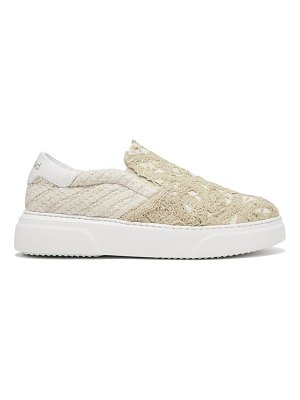BY WALID 19th century lace panelled slip on trainers
