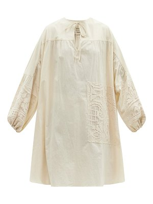 BY WALID abigail lace-patchwork cotton-poplin tunic top