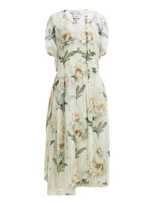 BY WALID aida floral print cotton tulle midi dress
