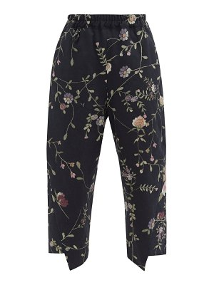 BY WALID artem floral-jacquard cotton-canvas trousers