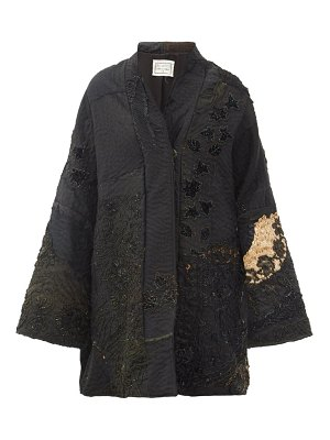 BY WALID basma beaded & embroidered silk evening coat