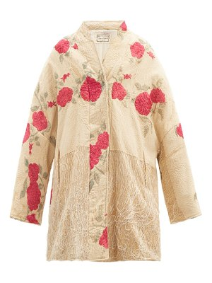 BY WALID basma vintage silk piano-shawl coat