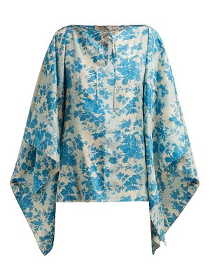BY WALID camilla floral print silk blouse