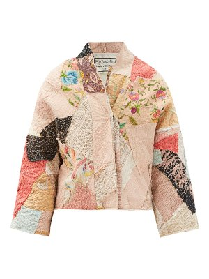 BY WALID cassie floral-embroidered patchwork silk jacket