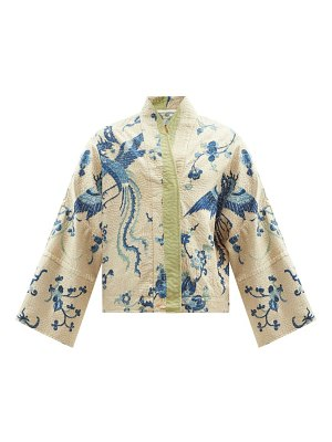 BY WALID cassie upcycled dragon-embroidered silk jacket