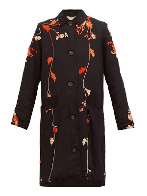 BY WALID clara floral embroidered silk coat