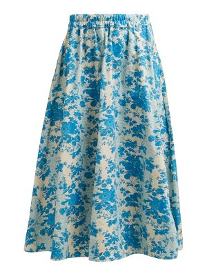 BY WALID daisy floral print cotton canvas midi skirt