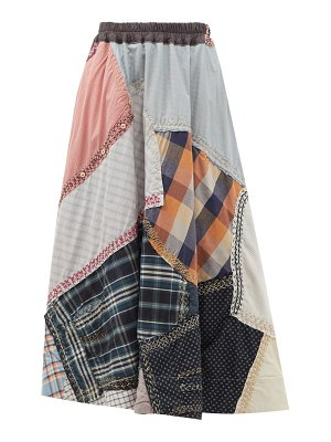 BY WALID daisy upcycled-shirt patchwork cotton skirt