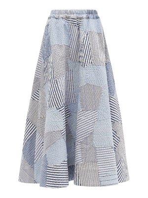 BY WALID daisy vintage shirt patchwork cotton skirt