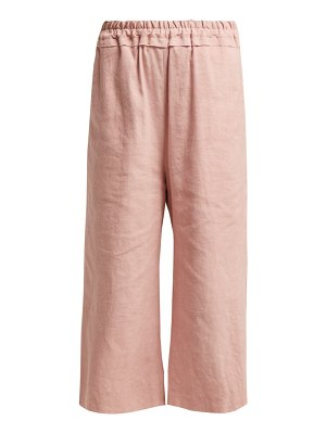 BY WALID Dania Cropped Linen Trousers
