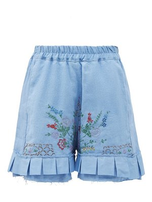 BY WALID evelyn embroidered upcycled-linen shorts