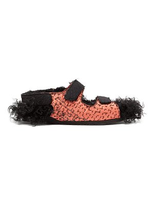 BY WALID felix bead-embellished shearling-lined sandals