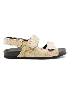 BY WALID felix velcro-strap embroidered sandals