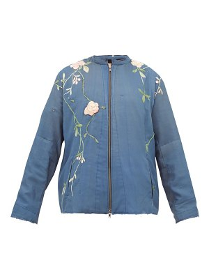 BY WALID floral embroidered silk jacket