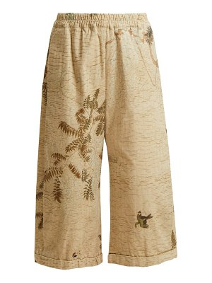 BY WALID hazy jungle print cotton canvas wide leg trousers