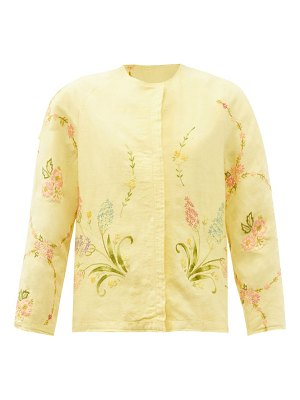 BY WALID ilana upcycled floral-embroidered linen jacket