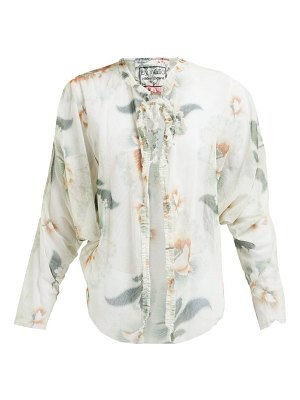 BY WALID iris floral-print cotton-tulle jacket