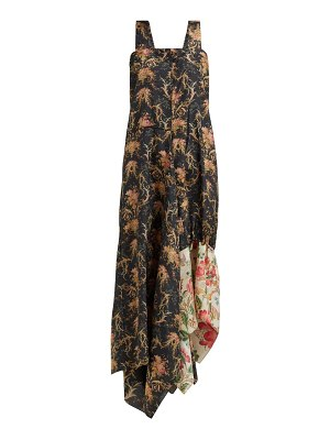 BY WALID manal floral-print raw silk midi dress