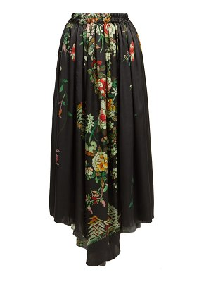 BY WALID Margot Floral Print Silk Midi Skirt