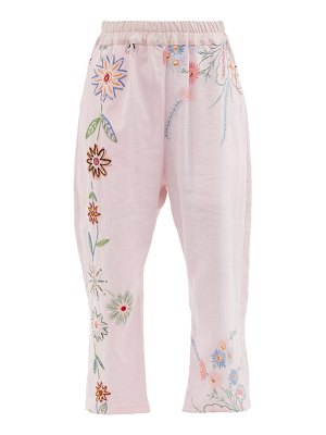 BY WALID marina embroidered upcycled-linen trousers