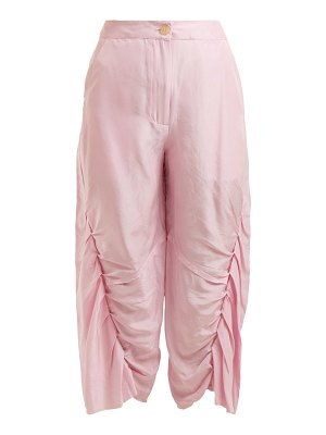 BY WALID meril pleated raw silk cropped trousers