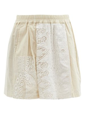 BY WALID narmin lace-panel upcycled-cotton shorts