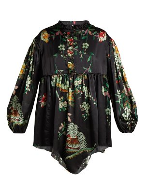 BY WALID Nicky Floral Print Silk Blouse