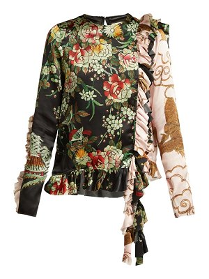 BY WALID Nil Floral Print Ruffled Silk Blouse