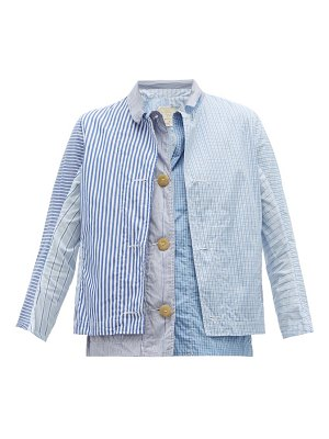 BY WALID patchworked cotton poplin shirt