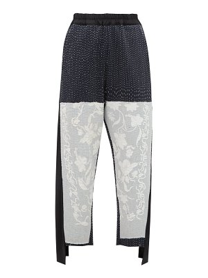 BY WALID sally embroidered wool and cotton blend trousers