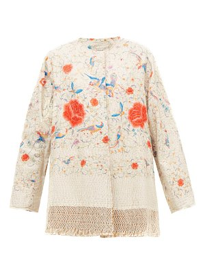 BY WALID tara floral-embroidered cotton and silk coat