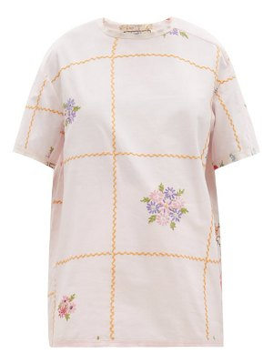 BY WALID tatum checked floral-embroidered linen t-shirt
