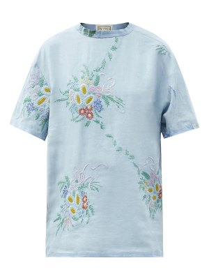BY WALID tatum vintage embroidered-linen t-shirt