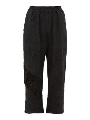 BY WALID vintage jet-beaded cotton cropped trousers