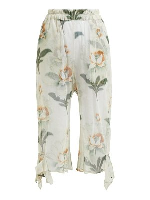 BY WALID yayoi floral-print cotton-tulle cropped trousers