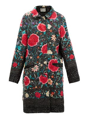 BY WALID zosia floral-embroidered cotton and silk coat