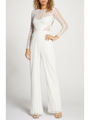 BY WATTERS curtis long sleeve lace wedding jumpsuit