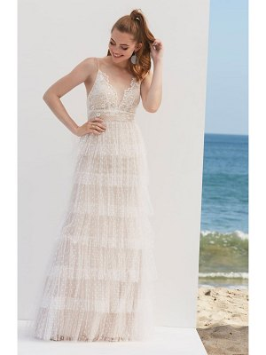 BY WATTERS tiered lace & swiss dot wedding dress
