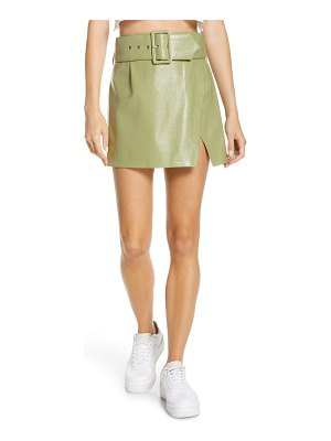 BY.DYLN by. dylan stevie croc embossed faux leather miniskirt