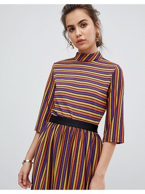 b.Young metallic stripe top