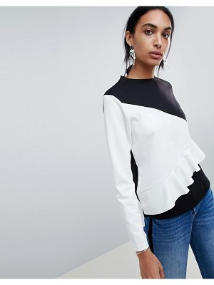 b.Young Ruffle Color Block Sweater