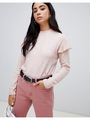 b.Young ruffle shoulder sweater