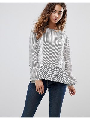 b.Young stripe top with lace panels