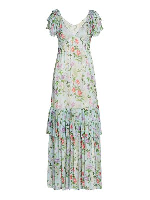 byTiMo ruffle trim floral georgette gown