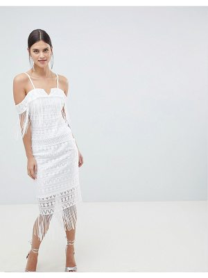 C by Cubic strap bandeau sheer midi dress