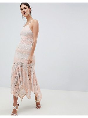 C by Cubic strappy lace fishtail midi dress