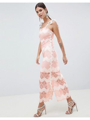 C by Cubic striped lace maxi dress-pink