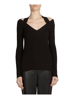 C dric Charlier Ribbed Cold-Shoulder Sweater