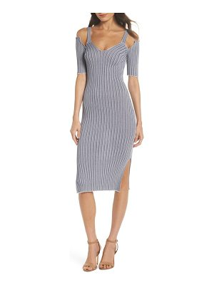 CAARA cold shoulder ribbed knit body-con dress